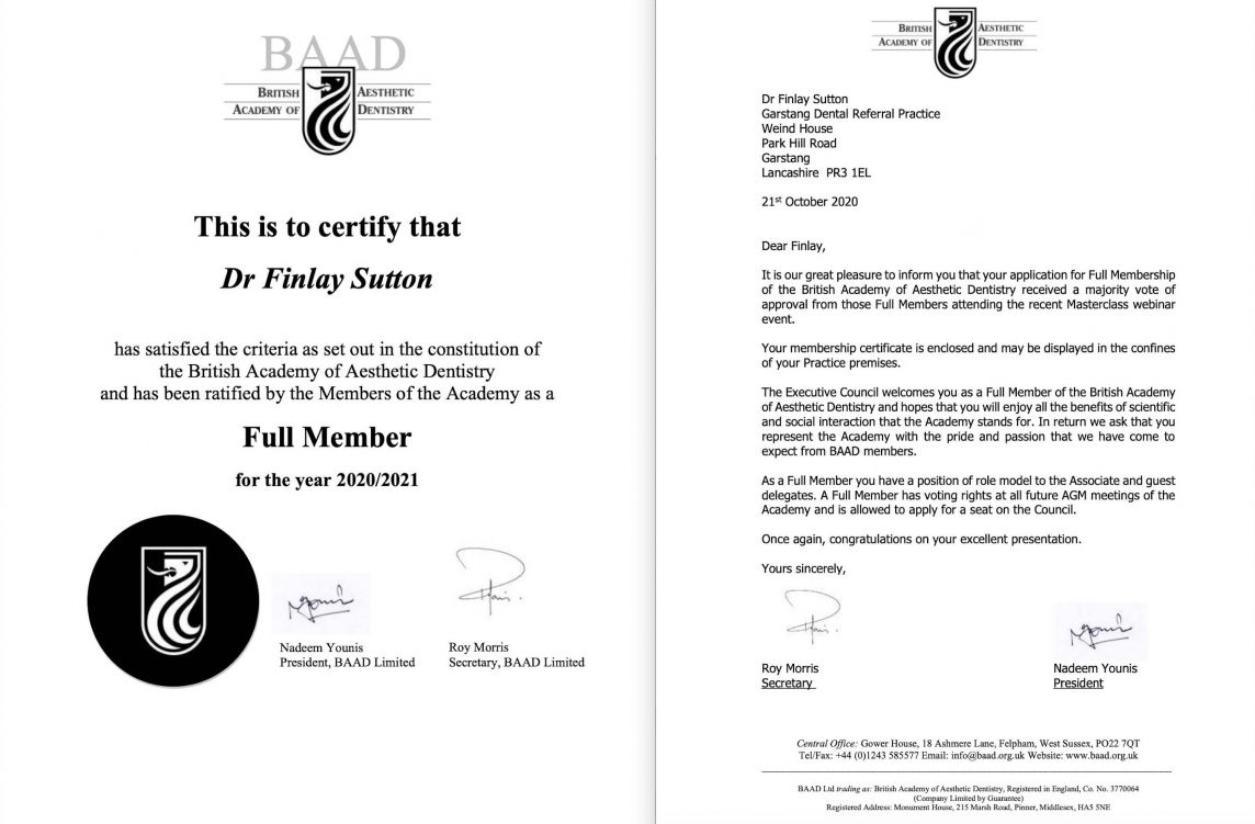 Finlay's BAAD full membership certificate
