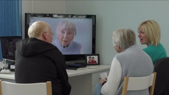 Figure 95 Patient verified mock up, using video trial insertion, still photographs and mirror - along with partner and Claire (dental nurse)