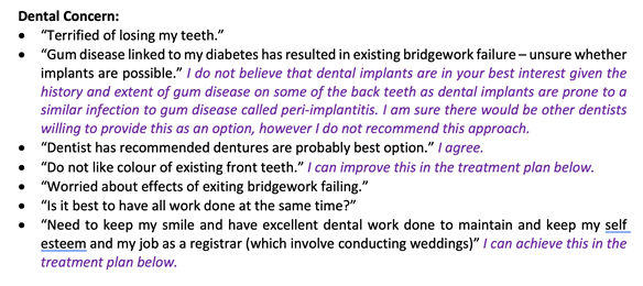 Figure 11 Dental concerns with my responses in the treatment plan letter.