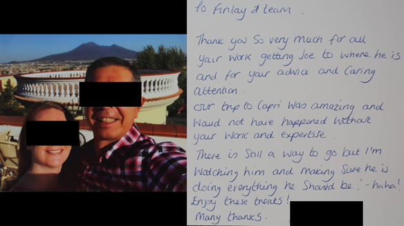 Figure 53 Mid treatment thank you card whilst patient had Mk 1 immediate dentures in situ